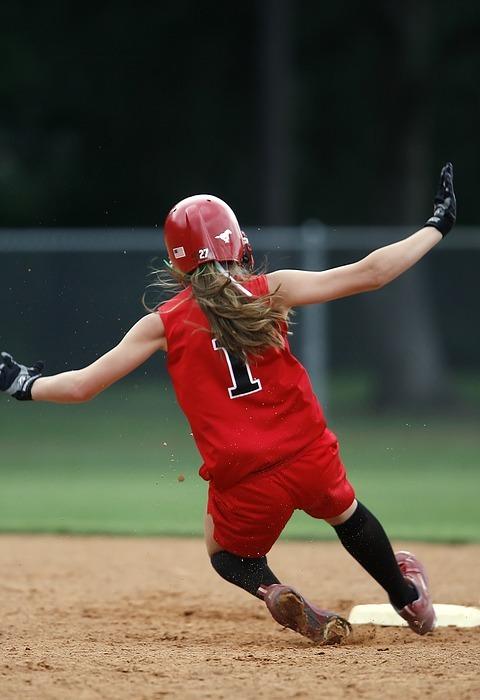 softball, player, sliding