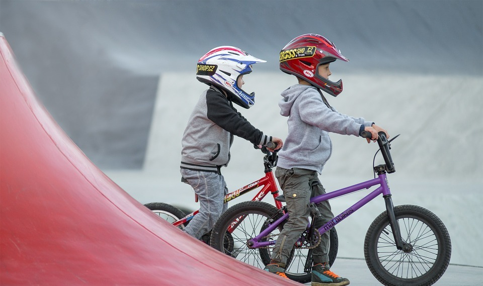 children, bmx, skatepark