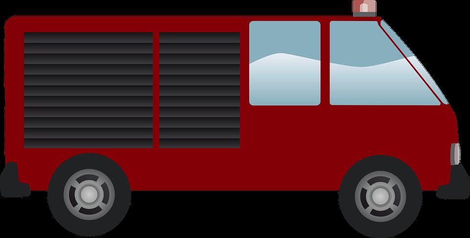 fire engine, firemen, van