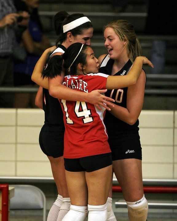 volleyball, team, celebration