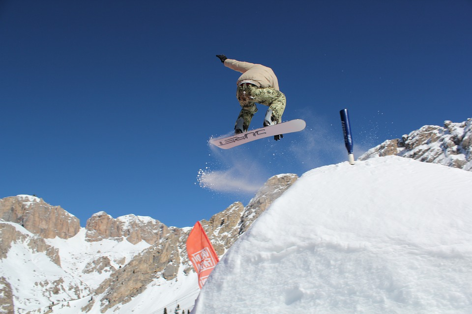 snowboarding, snow, springboard
