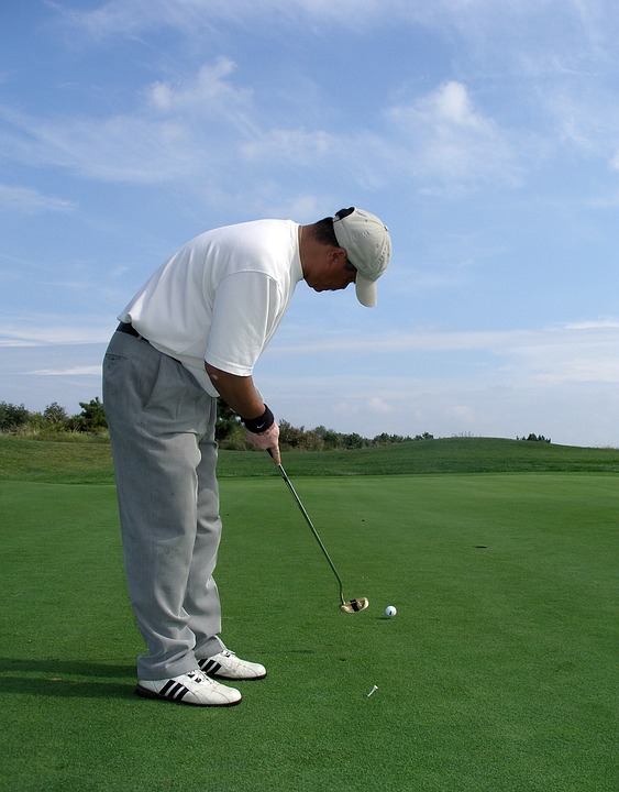 golf, men, putting