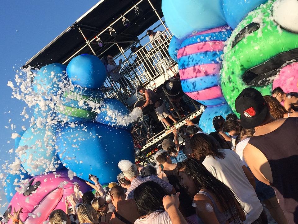 festival, party, bubbles