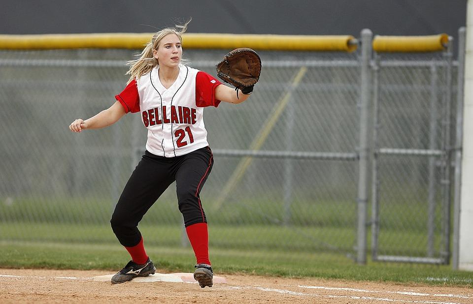 softball, first baseman, girl