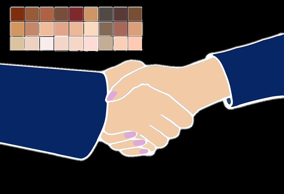 shaking hands, man, woman