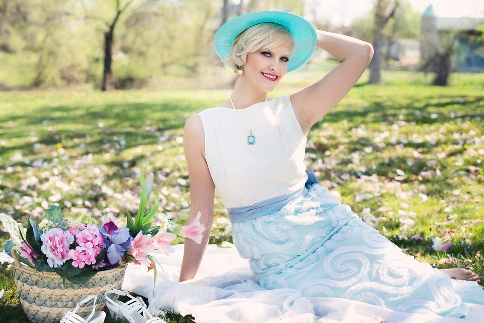 beautiful woman, picnic, spring