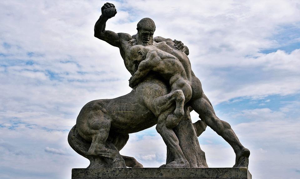 manhorse, man, wrestling