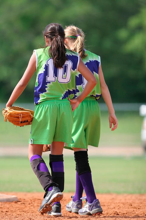 softball, team mates, female