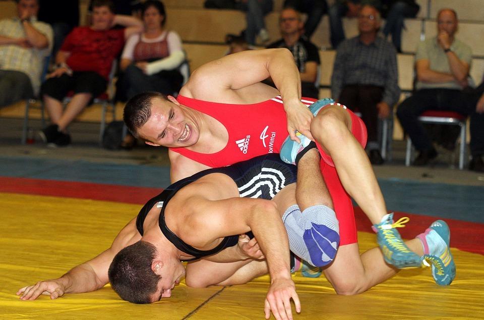 men, wrestling, competition