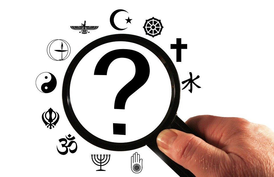religion, question mark, analysis