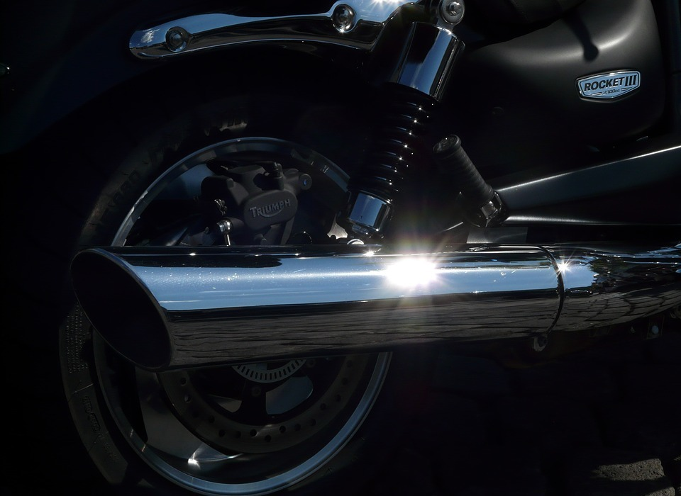 motorcycle, exhaust, chrome