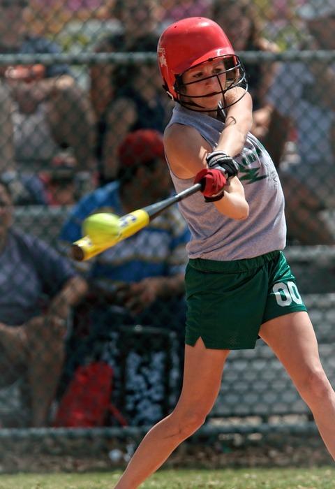 softball, action, batter