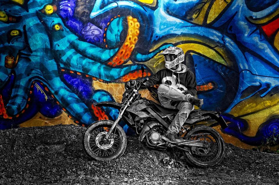 graffiti, motorcycle, motor