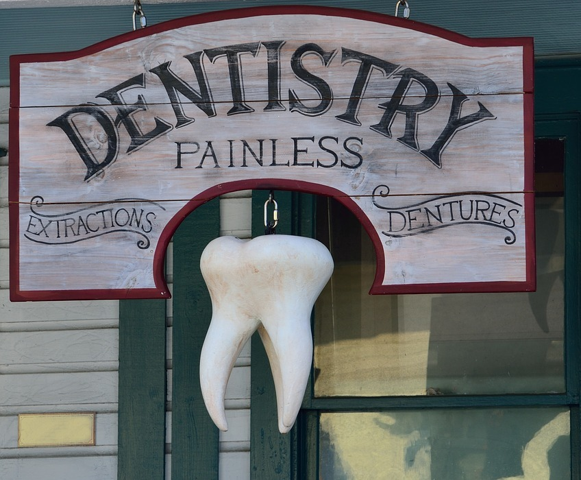 old, dentist sign, signage