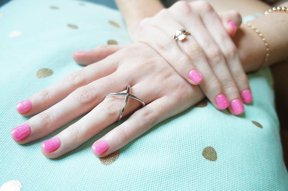 rings, hand, pink nail polish