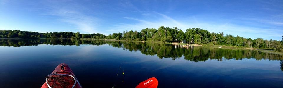 panoramic, lake, kayak