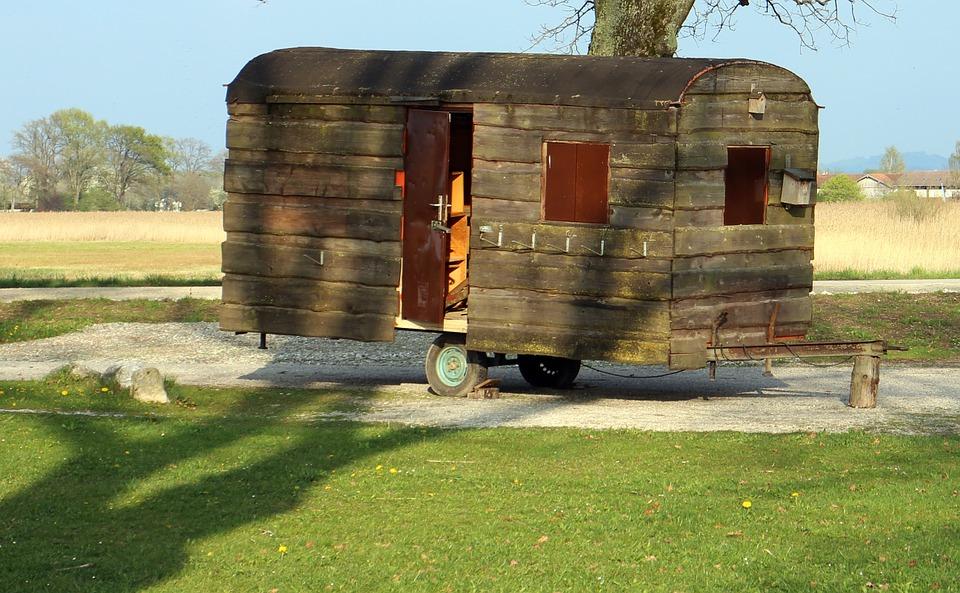 caravan, wood, camping
