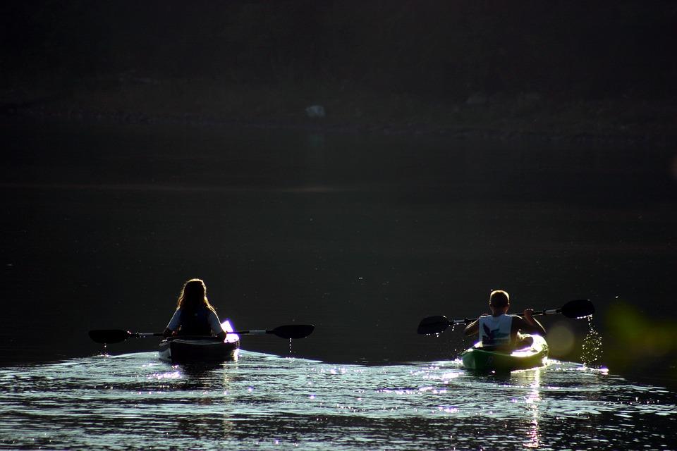 kayaks, lake, water