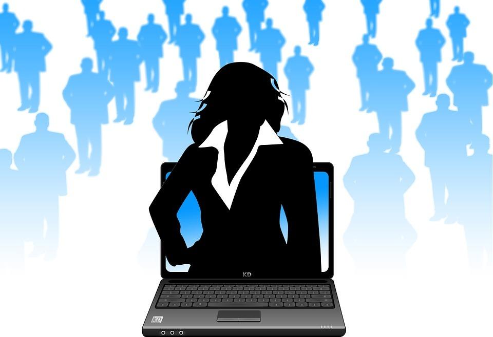 laptop, monitor, businesswoman