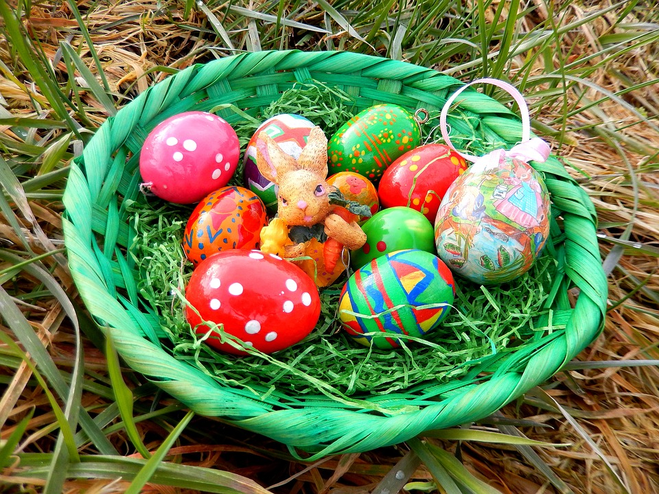 easter nest, easter eggs, easter