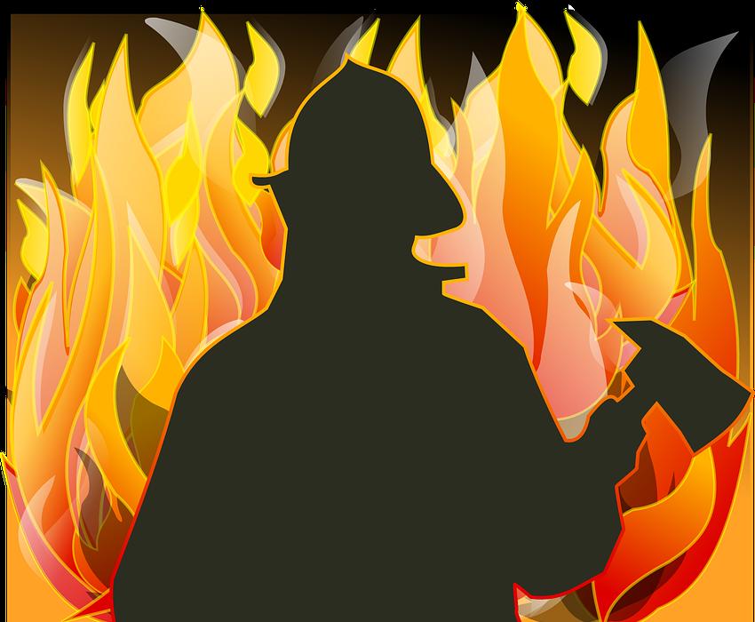 fireman, fire, axe