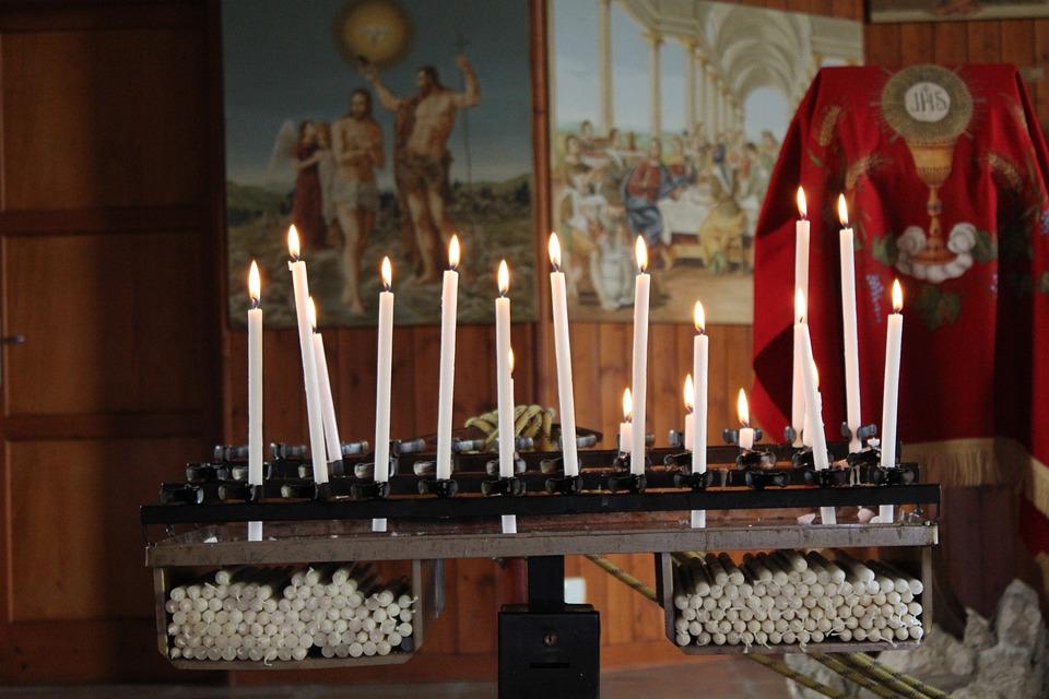 church candles, pray, catholic church