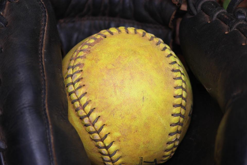 softball, glove, ball