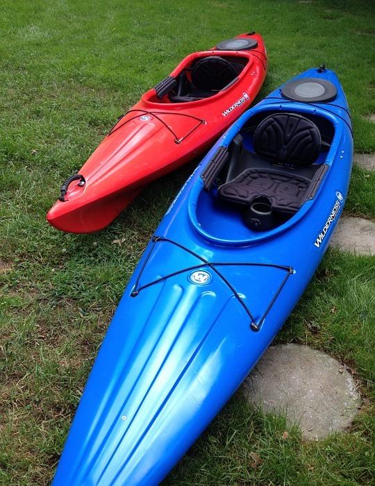 kayak, boat, red