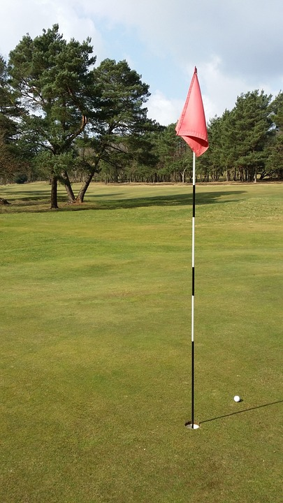 golf, flag, ball