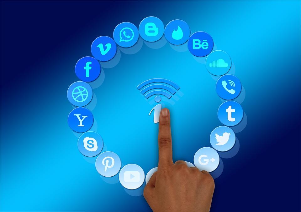 social media, information, finger