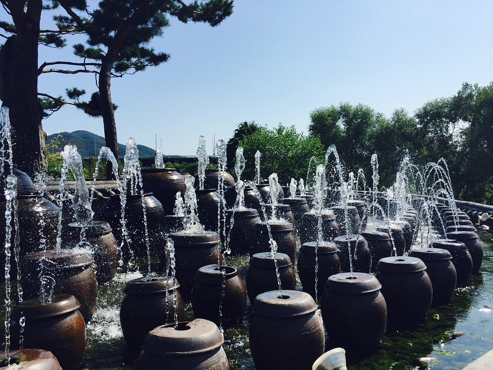 korea, semi circle, fountain
