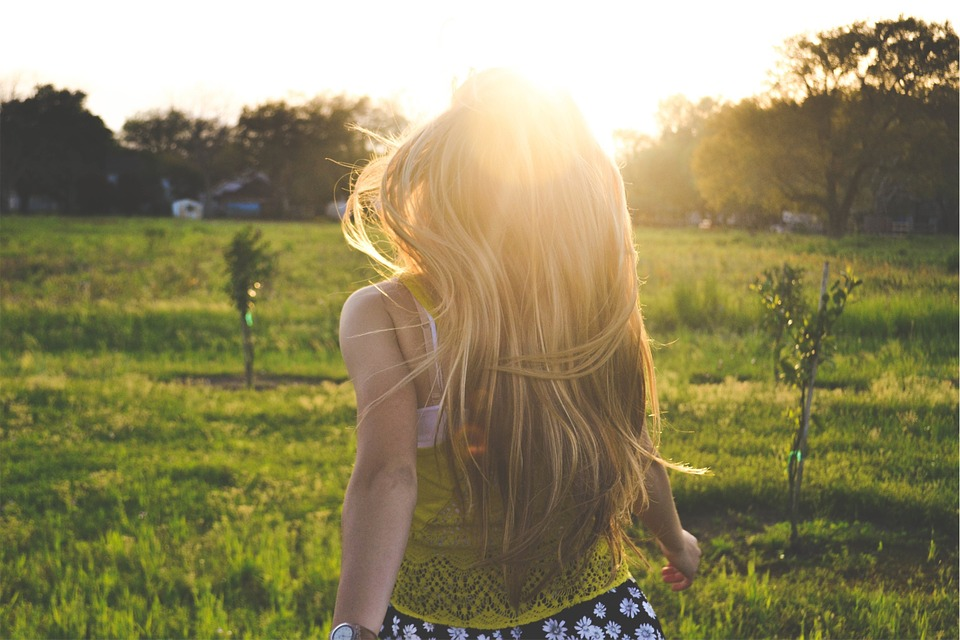blonde, girl, backlight