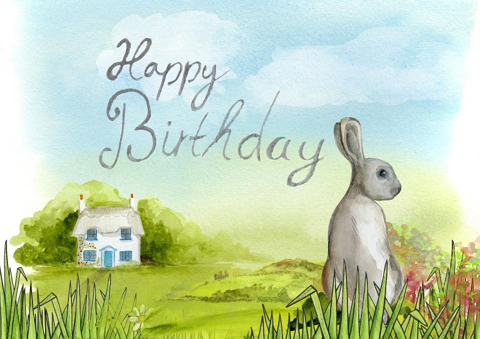 happy, birthday, bunny