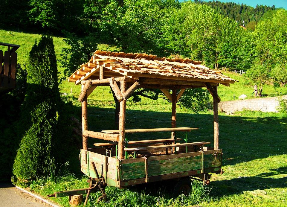 trailer, picnic table, garden furniture