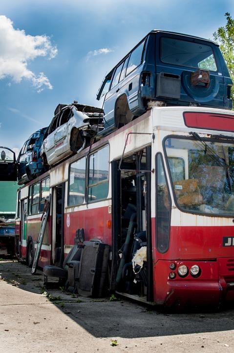 junkyard, collision, bus