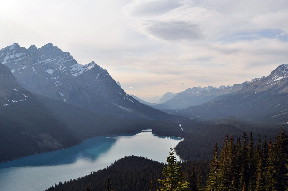 mountains, lake, canada