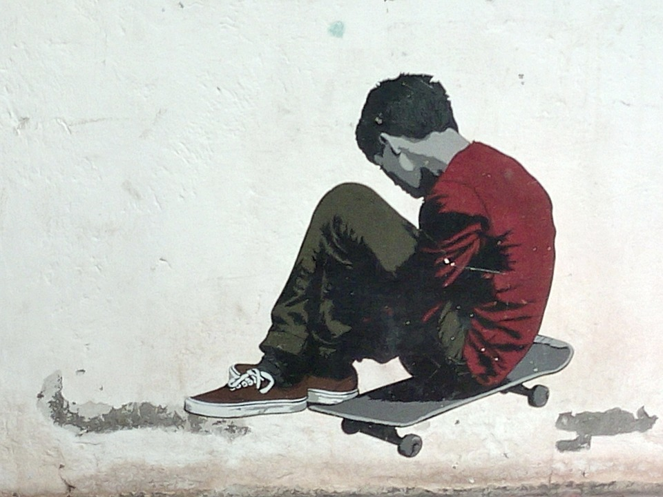 skateboard, graffiti, spray