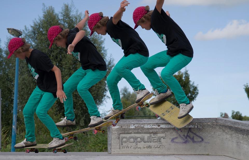 skateboard, trick, multi
