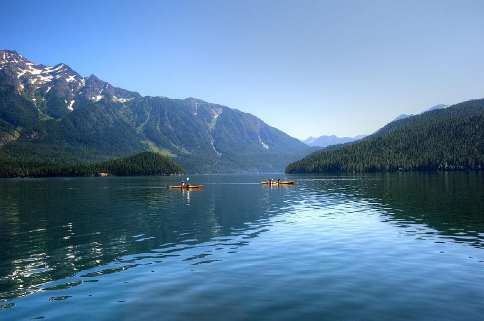kayaking, lake, mountains