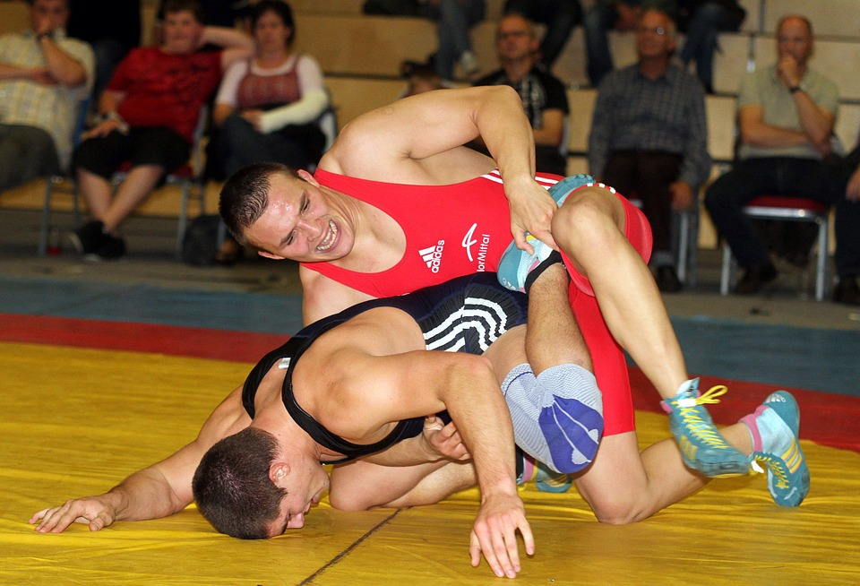 men, wrestling, competition