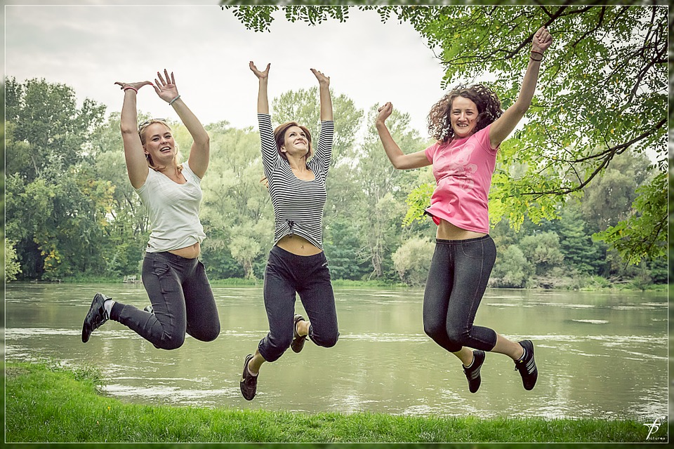 jumping, happy people, female
