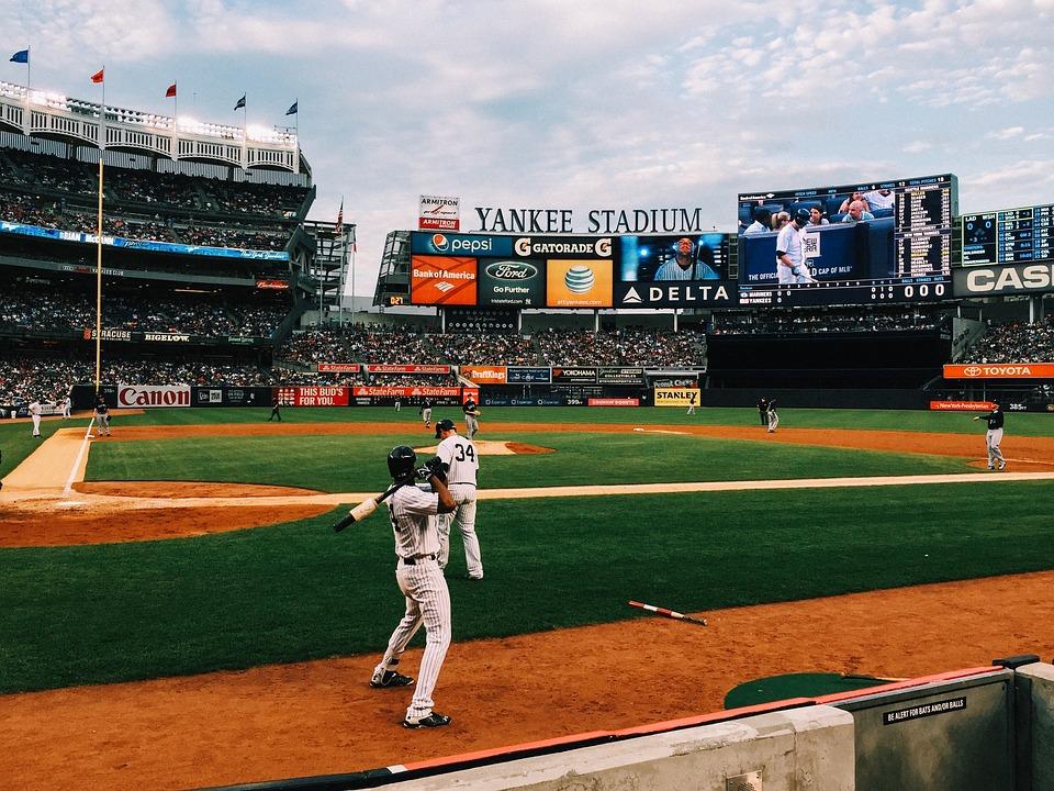 baseball field, yankee stadium, game