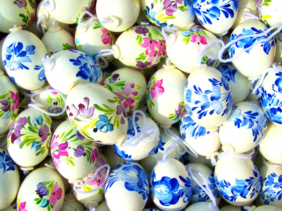 hand-painted easter eggs, easter eggs, easter