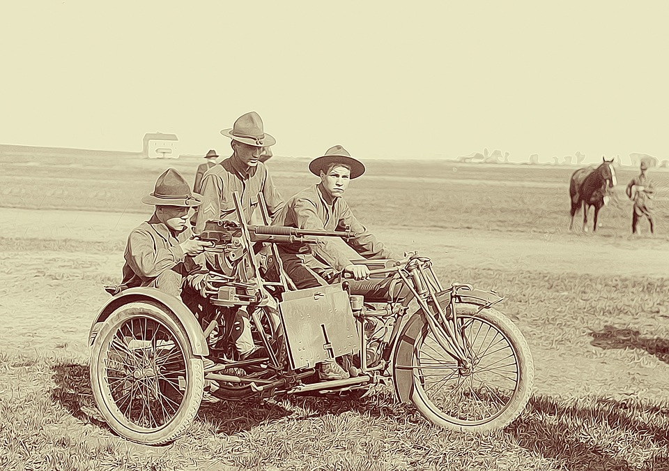 motorcycle, soldiers, scouts