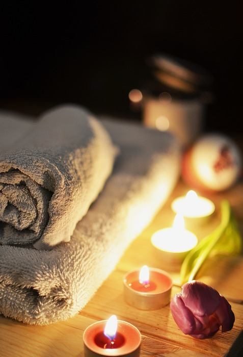 massage therapy, candles, towels