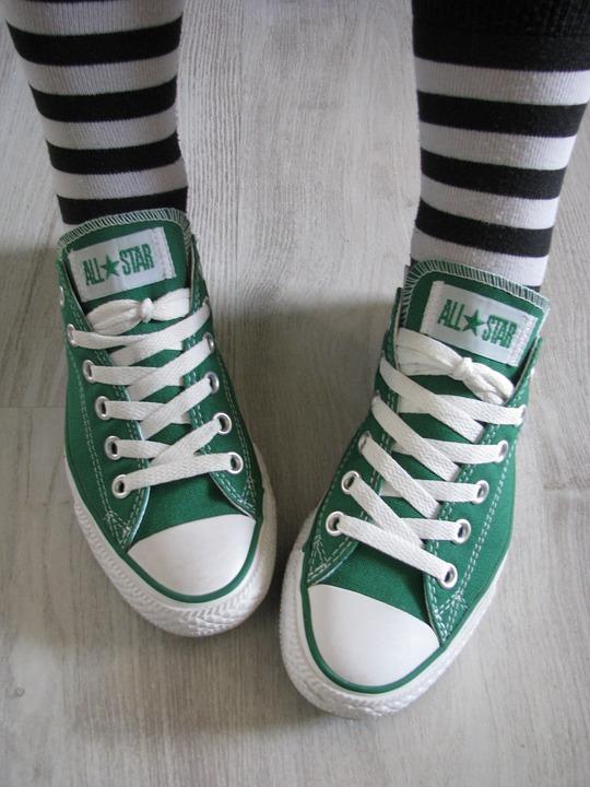 green, all star, converse | Stock