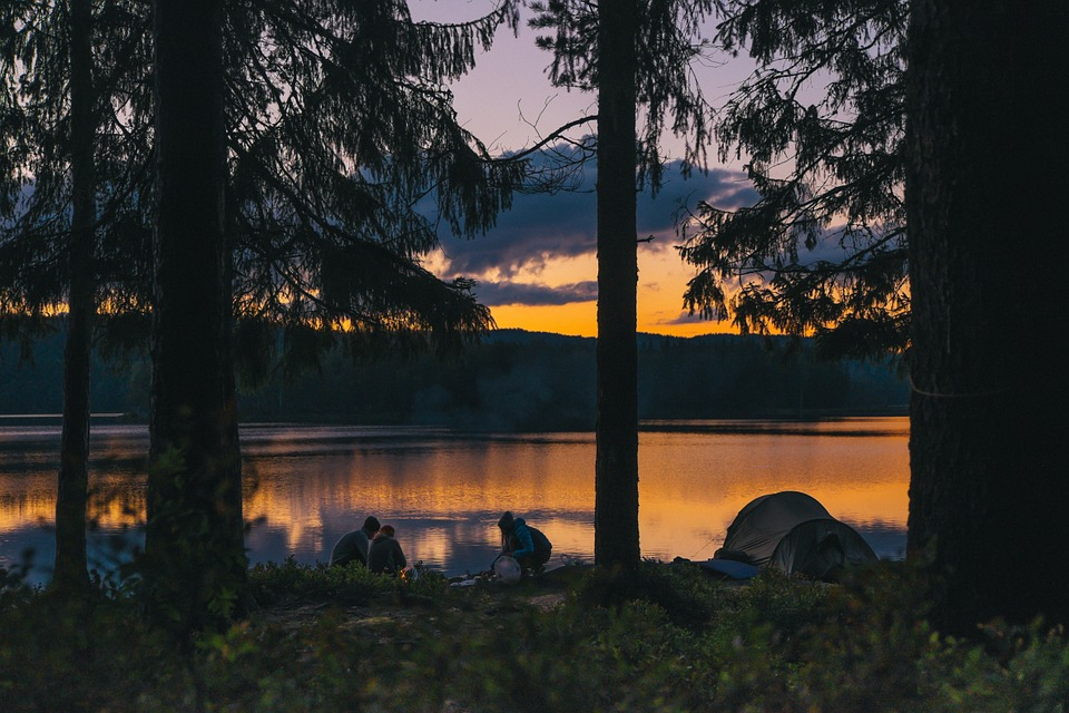 camping, lakeside, sunset