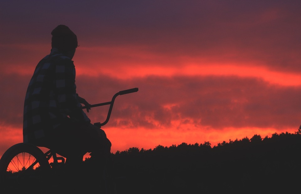 bmx, sunset, sun