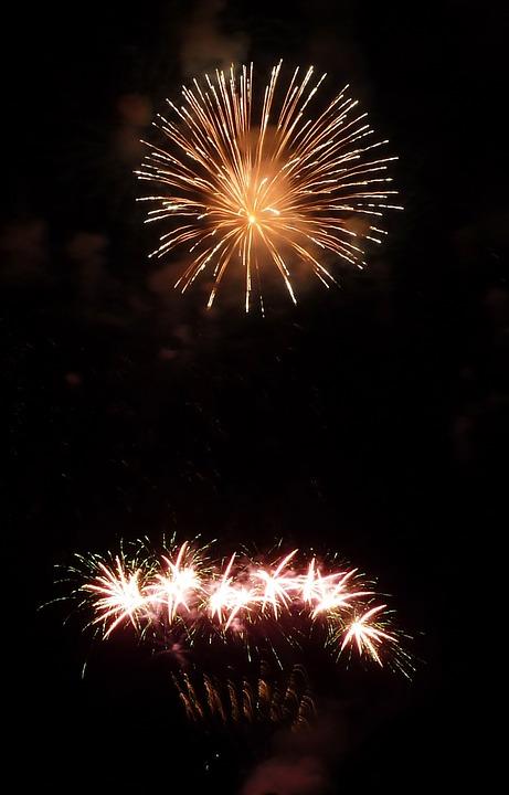 fireworks, light, night