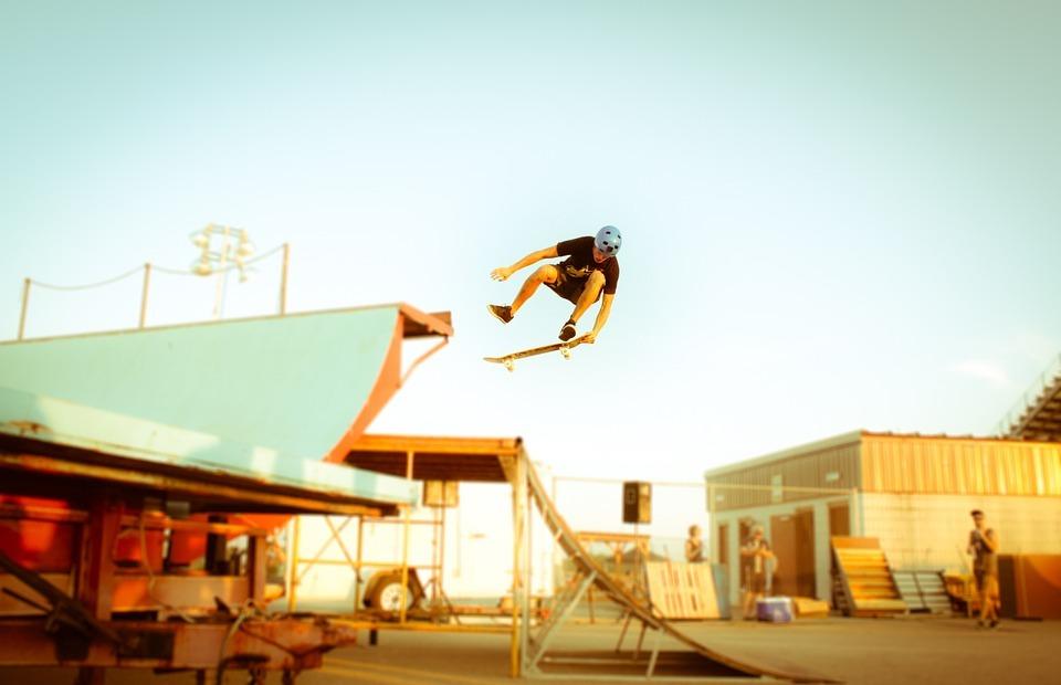 skateboard, stunt, jump